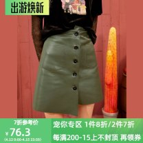 skirt Spring 2020 S,M,L Court dark green Short skirt A-line skirt Solid color Type A 18-24 years old More than 95% Elf sack / goblin's pocket PU