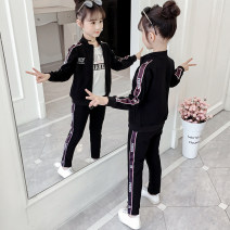 suit Sangjess / Sandy & Jesse 110cm 120cm 130cm 140cm 150cm 160cm female spring and autumn motion Long sleeve + pants 3 pieces routine There are models in the real shooting Zipper shirt nothing Solid color Cotton blended fabric children Expression of love JXTZ1055 Class B Autumn 2020 Chinese Mainland