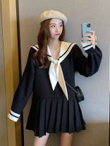 Dress Autumn 2020 Cream Black S M L XL Short skirt singleton  Long sleeves commute V-neck High waist Solid color Socket Pleated skirt routine 18-24 years old Type A collect SJ9520 More than 95% other New polyester fiber 100% Pure e-commerce (online only)