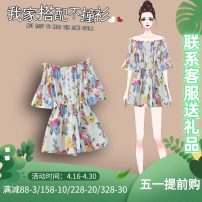Women's large Summer 2021 Light blue dark blue white L XL 2XL 3XL 4XL Other oversize styles Two piece set commute easy moderate Socket Short sleeve Plants and flowers Korean version One word collar routine Three dimensional cutting other J-90107 Murexi 25-29 years old Other 100% shorts