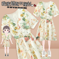 Women's large Summer 2021 Decor Dress singleton  commute Self cultivation thin Socket Short sleeve Plants and flowers Korean version V-neck Medium length Three dimensional cutting other J-60701 Murexi 25-29 years old Medium length Other 100% Pure e-commerce (online only) other