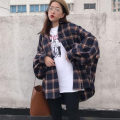 shirt Grey, red Average size Spring 2021 polyester fiber 51% (inclusive) - 70% (inclusive) Long sleeves commute Medium length Single row multi button routine lattice 18-24 years old Straight cylinder Korean version cotton