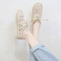 Low top shoes 35 36 37 38 39 40 Round head Mesh Flat bottom Low heel (1-3cm) Shallow mouth Netting Summer 2020 Frenulum Korean version Adhesive shoes Youth (18-40 years old) Solid color rubber Ballet Flats Hollowing out cloth leisure time Pure e-commerce (online only)