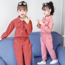 suit Other / other Green, brick red, pink female spring and autumn Korean version Long sleeve + pants 2 pieces routine There are models in the real shooting Single breasted nothing Solid color polyester fiber Class A Polyester 92% cotton 8%