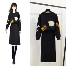 Fashion suit Autumn 2020 One size fits all, l, m, s Black suit, black single sweater, black skirt 18-25 years old 81% (inclusive) - 90% (inclusive) wool