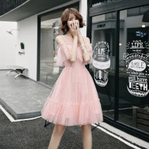 Dress / evening wear Weddings, adulthood parties, company annual meetings, daily appointments XS S M L XL XXL Pink round neck off shoulder pink cake skirt Korean version Short skirt middle-waisted Summer of 2019 Skirt hem U-neck 18-25 years old YM19071 Short sleeve Embroidery Solid color Other 100%