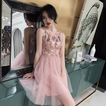 Dress / evening wear Weddings, adulthood parties, company annual meetings, daily appointments XS S M L XL XXL tailor made without return Korean version Short skirt middle-waisted Summer of 2019 Skirt hem U-neck zipper 18-25 years old Sleeveless Nail bead other Beautiful outline routine Other 100%
