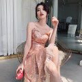 Dress / evening wear Weddings, adulthood parties, company annual meetings, daily appointments XS S M L XL XXL Meat Pink Korean version Medium length middle-waisted Summer of 2019 Self cultivation Sling type zipper 18-25 years old Sleeveless Nail bead Solid color Beautiful outline routine Other 100%