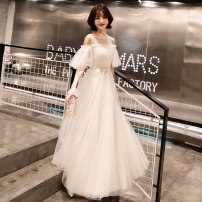 Dress / evening wear Weddings, adulthood parties, company annual meetings, daily appointments XS S M L XL XXL tailor made without return Korean version longuette middle-waisted Spring of 2019 Fall to the ground U-neck Bandage 18-25 years old Short sleeve Embroidery Solid color Beautiful outline other