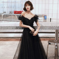 Dress / evening wear Weddings, adulthood parties, company annual meeting, performance date XS S M L XL XXL tailor made without return black Korean version longuette middle-waisted Winter of 2019 Fall to the ground One shoulder Bandage 18-25 years old YM19162 Short sleeve Nail bead Solid color other