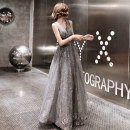 Dress / evening wear Wedding party company annual meeting performance date Tailor made non exchangeable XS S M L XL XXL dark grey Korean version longuette middle-waisted Autumn of 2019 Fall to the ground Deep collar V Bandage 18-25 years old Sleeveless Nail bead Solid color Beautiful outline routine