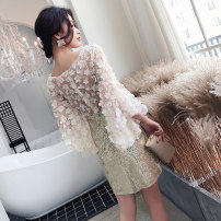 Dress / evening wear Weddings, adulthood parties, company annual meetings, daily appointments XS S M L XL XXL Champagne gold Korean version Short skirt middle-waisted Summer of 2019 Short buttocks U-neck zipper 18-25 years old YM19062 three quarter sleeve Nail bead Solid color Beautiful outline other