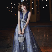 Dress / evening wear Weddings, adulthood parties, company annual meeting, performance date Tailor made non exchangeable XS S M L XL XXL blue Korean version longuette middle-waisted Winter of 2019 Self cultivation Deep collar V Bandage 18-25 years old Sleeveless flower Solid color Beautiful outline