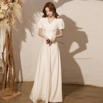 Dress / evening wear Weddings, adulthood parties, company annual meetings, daily appointments XS S M L XL XXL tailor made without return White long [about 145 cm] white medium long [about 110 cm] Korean version longuette middle-waisted Autumn 2020 Fall to the ground Deep collar V zipper YM20094 other