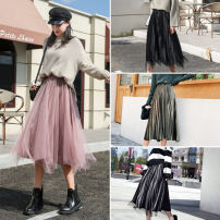 skirt Winter of 2019 S M L XL 2XL 3XL 4XL 5XL longuette Versatile High waist Pleated skirt Solid color Type A 18-24 years old GX501-F138 91% (inclusive) - 95% (inclusive) Gu Xi polyester fiber Gauze Polyester 92.4% polyurethane elastic fiber (spandex) 7.6% Pure e-commerce (online only)
