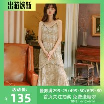 Nightdress Other / other Apricot, black 155(S),160(M),165(L),170(XL) luxurious camisole pajamas longuette autumn Broken flowers youth V-neck Iced silk printing More than 95% silk Rose suspender skirt