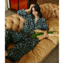 Pajamas / housewear set female Other / other S,M,L,XL green Polyester (polyester) Long sleeves luxurious pajamas autumn routine Small lapel Leopard Print trousers Front buckle youth 2 pieces rubber string More than 95% silk printing