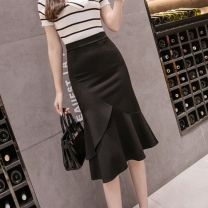 skirt Summer 2020 S M L XL XXL black Mid length dress commute High waist Solid color 25-29 years old T0895 More than 95% Thea / Xi'an other Korean version Other 100% Pure e-commerce (online only)