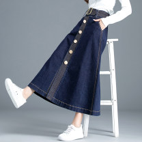 skirt Spring 2021 XS S M L XL 2XL 3XL Blue black longuette Retro High waist Denim skirt Solid color Type A 25-29 years old WYWK_ DZ9960 91% (inclusive) - 95% (inclusive) Denim Weiyi micro pants cotton Pocket button with open line decoration Pure e-commerce (online only)