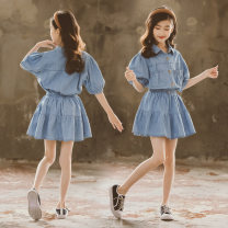 suit Yanni Taobei wathet 120cm,130cm,140cm,150cm,160cm,170cm female summer Korean version Short sleeve + skirt 2 pieces Thin money There are models in the real shooting Socket nothing Solid color cotton children birthday Class B Cotton 80% polyester 20% Chinese Mainland Zhejiang Province Huzhou City