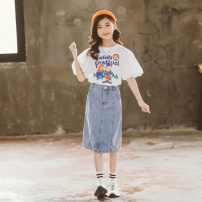 suit Other / other Commander T + denim skirt 120cm,130cm,140cm,150cm,160cm,170cm female summer leisure time Short sleeve + pants 2 pieces routine There are models in the real shooting Socket nothing Solid color cotton children Giving presents at school Class B Chinese Mainland Zhejiang Province