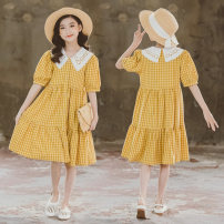 Dress yellow female Other / other 120cm,130cm,140cm,150cm,160cm,170cm Cotton 100% summer Korean version Long sleeves lattice cotton Lotus leaf edge Class B 7, 8, 14, 6, 13, 11, 5, 4, 10, 9, 12, 3 Chinese Mainland Zhejiang Province Huzhou City