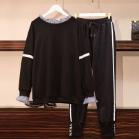 Women's large Autumn of 2019 Other oversize styles Two piece set commute easy moderate Long sleeves stripe Korean version Crew neck routine cotton Three dimensional cutting routine Essence of clothing 25-29 years old Three dimensional decoration Cotton 95% polyethylene terephthalate (polyester) 5%