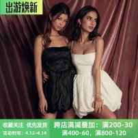 Dress Summer 2021 Black, white S,M,L Short skirt singleton  Sleeveless street One word collar High waist Solid color Socket A-line skirt other camisole 18-24 years old Type X instunning Open back, stitching JY21041AH 81% (inclusive) - 90% (inclusive) other polyester fiber Europe and America