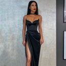 Dress Summer 2020 Black, red S,M,L longuette singleton  Sleeveless street One word collar middle-waisted Socket One pace skirt routine camisole 18-24 years old Type X instunning 81% (inclusive) - 90% (inclusive) Silk and satin polyester fiber Europe and America