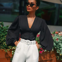 shirt black S,M,L Autumn of 2019 polyester fiber 81% (inclusive) - 90% (inclusive) Long sleeves commute Regular V-neck Single row multi button bishop sleeve Solid color 18-24 years old Self cultivation Other / other Ol style polyester cotton