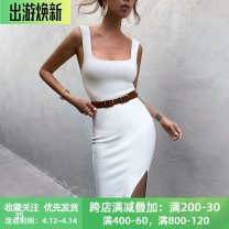 Dress Spring 2021 White, yellow, black S,M,L longuette singleton  Sleeveless street square neck High waist Solid color Socket One pace skirt routine camisole 18-24 years old Type X instunning Split 20587P 81% (inclusive) - 90% (inclusive) other polyester fiber Europe and America