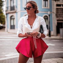 Casual pants Rose, apricot S,M,L Summer 2020 shorts Wide leg pants High waist street routine 18-24 years old 91% (inclusive) - 95% (inclusive) 20208P instunning polyester fiber Button polyester fiber Europe and America