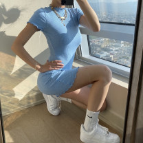 Dress Summer 2021 Blue, black, green S,M,L Short skirt singleton  Short sleeve street Crew neck High waist Solid color Socket One pace skirt routine Others 18-24 years old Type X instunning Fungus, splicing QY21120PF 81% (inclusive) - 90% (inclusive) other polyester fiber Europe and America