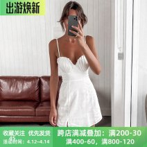 Dress Spring 2021 white S,M,L Short skirt singleton  Sleeveless street V-neck High waist Solid color Socket A-line skirt routine camisole 18-24 years old Type X instunning Open back, fold 21530P 81% (inclusive) - 90% (inclusive) other polyester fiber Europe and America