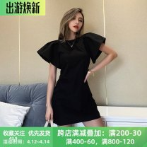 Dress Autumn 2020 black S,M,L Short skirt singleton  Short sleeve street Crew neck High waist Solid color zipper A-line skirt Flying sleeve Others 18-24 years old Type X instunning Splicing 81% (inclusive) - 90% (inclusive) other polyester fiber Europe and America