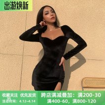 Dress Spring 2021 black S,M,L Short skirt singleton  Long sleeves street square neck High waist Solid color Socket One pace skirt routine Others 18-24 years old Type X instunning Split 20489G 81% (inclusive) - 90% (inclusive) other polyester fiber Europe and America