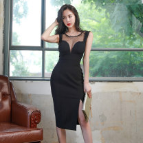 Dress Summer of 2019 black S M L Mid length dress singleton  Sleeveless commute Crew neck High waist Solid color zipper One pace skirt other Breast wrapping 30-34 years old An Yutong Korean version Gauze A888013 More than 95% polyester fiber Polyester 95% polyurethane elastic fiber (spandex) 5%