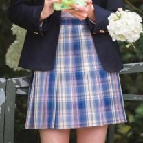 skirt Summer 2020 XS,S,M,L,XL Short skirt Sweet High waist Pleated skirt lattice Type A 18-24 years old 71% (inclusive) - 80% (inclusive) 351g / m ^ 2 (including) - 400g / m ^ 2 (including) solar system