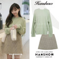 Wool knitwear Autumn of 2019 S. M, l, XL, one size fits all Green sweater, Khaki Skirt Long sleeves singleton  Socket acrylic fibres 31% (inclusive) - 50% (inclusive) Regular routine commute easy routine Solid color Socket Korean version 18-24 years old Other / other thread