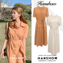 Dress Summer 2020 Orange, apricot white S,M,L,XL Mid length dress singleton  Short sleeve commute Polo collar Loose waist Solid color Single breasted A-line skirt routine 18-24 years old Type A Korean version Bow, button 51% (inclusive) - 70% (inclusive) cotton