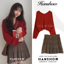 Fashion suit Winter of 2019 S. M, l, XL, one size fits all White sweater, red sweater, plaid skirt 18-25 years old Other / other