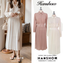 Dress Autumn of 2019 White, lotus root S,M,L,XL Mid length dress singleton  Long sleeves commute Polo collar High waist Solid color Single breasted Pleated skirt shirt sleeve 18-24 years old Type A Other / other Korean version Bows, ties, buttons 51% (inclusive) - 70% (inclusive)