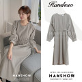 Dress Spring 2021 grey S,M,L,XL Mid length dress singleton  Long sleeves commute Crew neck Loose waist Solid color Socket A-line skirt puff sleeve 25-29 years old Type A Korean version Lace up, zipper