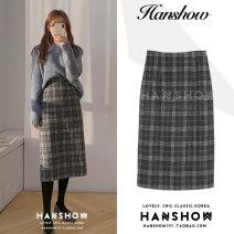 skirt Winter 2020 S,M,L,XL Check skirt, blue sweater Mid length dress Versatile High waist A-line skirt lattice Type A 18-24 years old Wool other