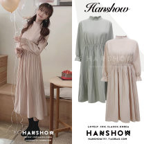 Dress Spring 2020 Lotus root, mint green S,M,L,XL Mid length dress singleton  Long sleeves commute stand collar High waist Solid color Socket Pleated skirt Lotus leaf sleeve 25-29 years old Type A Korean version Pleats, buttons 81% (inclusive) - 90% (inclusive) Chiffon