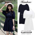 Dress Summer 2020 White, Navy S,M,L,XL Middle-skirt singleton  Short sleeve commute Crew neck Loose waist Solid color Socket puff sleeve 18-24 years old Type A Korean version Bows, ties, buttons 311# cotton