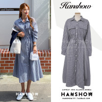 Dress Autumn 2020 blue S,M,L,XL Mid length dress singleton  Long sleeves commute Polo collar High waist lattice Single breasted A-line skirt shirt sleeve Others 18-24 years old Type A Korean version Bowknot, tuck, pocket, lace up, stitching, buttons hemp