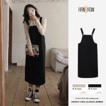 Dress Summer 2021 Apricot, black S,M,L,XL Mid length dress singleton  Sleeveless commute other Loose waist Solid color A-line skirt other straps 18-24 years old Type A Korean version 51% (inclusive) - 70% (inclusive) cotton