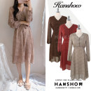 Dress Autumn of 2019 Red, beige, brown S,M,L,XL longuette singleton  Long sleeves commute V-neck High waist Broken flowers Single breasted A-line skirt other 18-24 years old Type A Other / other Korean version bow 51% (inclusive) - 70% (inclusive) Chiffon