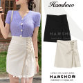 skirt Summer 2020 S,M,L,XL Apricot, black Short skirt Versatile High waist skirt Solid color 18-24 years old cotton Bows, bandages, zippers